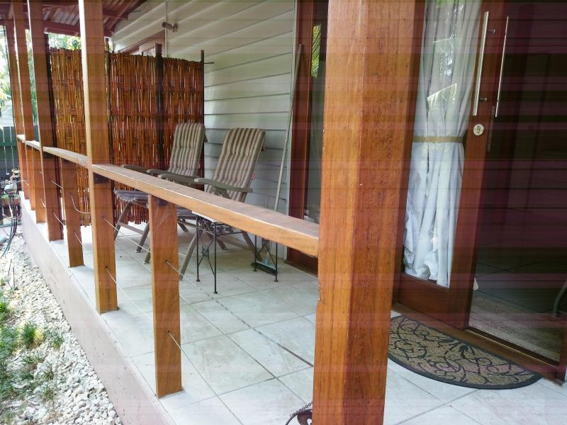 Deck of superior room 2, room 1 beyond the bamboo screen.