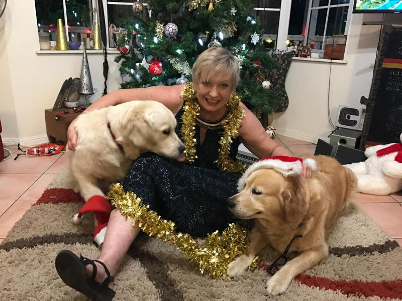 Bella and Bailey and I at Christmas