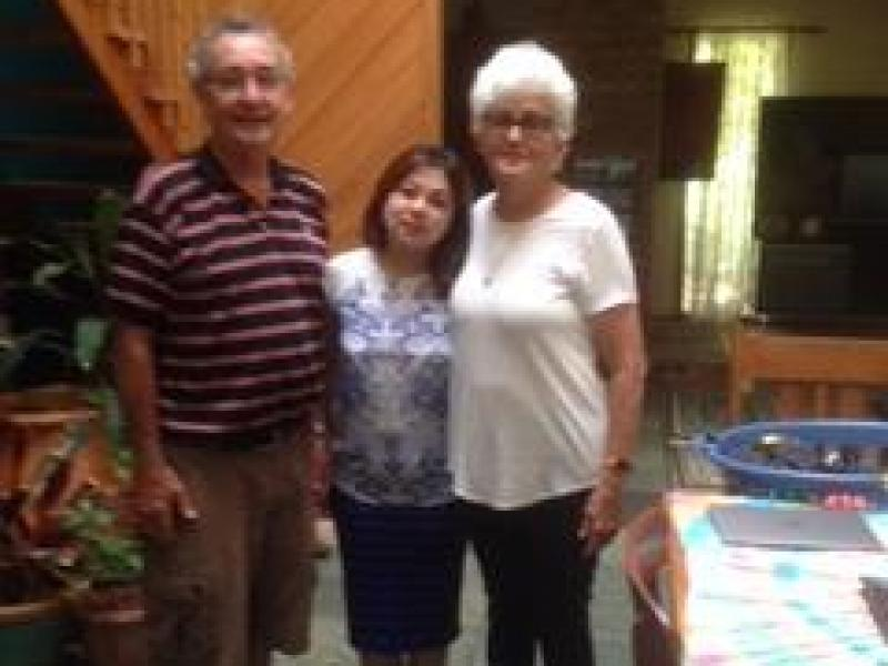 Clint and Maureen with previous guest from Nepal