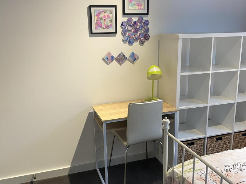 Internal bedroom desk and shelves