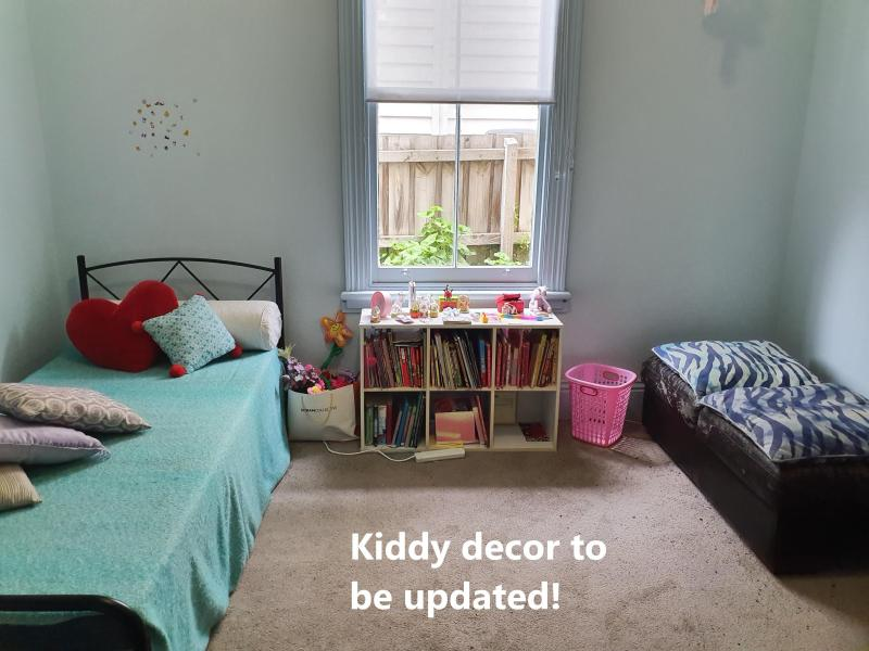 Bedroom (child-style now but decor will change). Single bed, desk, clothes drawers, rack.