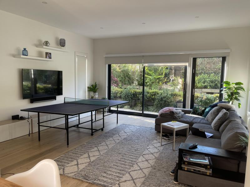 Living room to hangout in with Table-tennis table