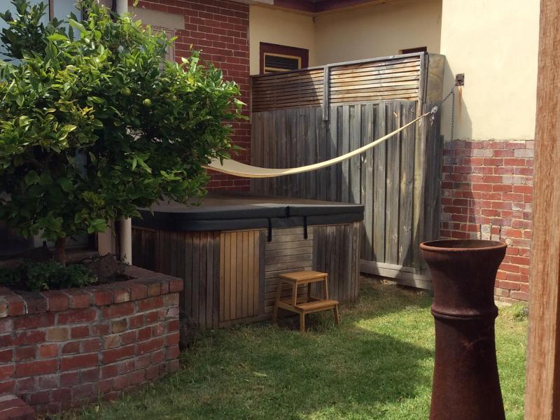 Spa bath located in back yard