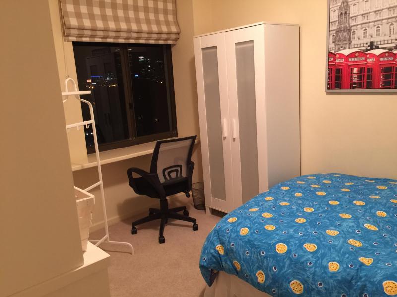 Bedroom 2, Double Bed, wardrobe, shelves, desk