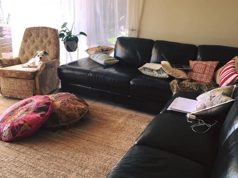 Living Room, with our dog Romeo :)