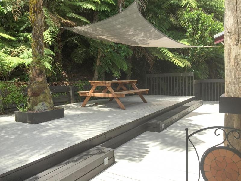 Our lovely deck, where your room access directly with sliding door.
