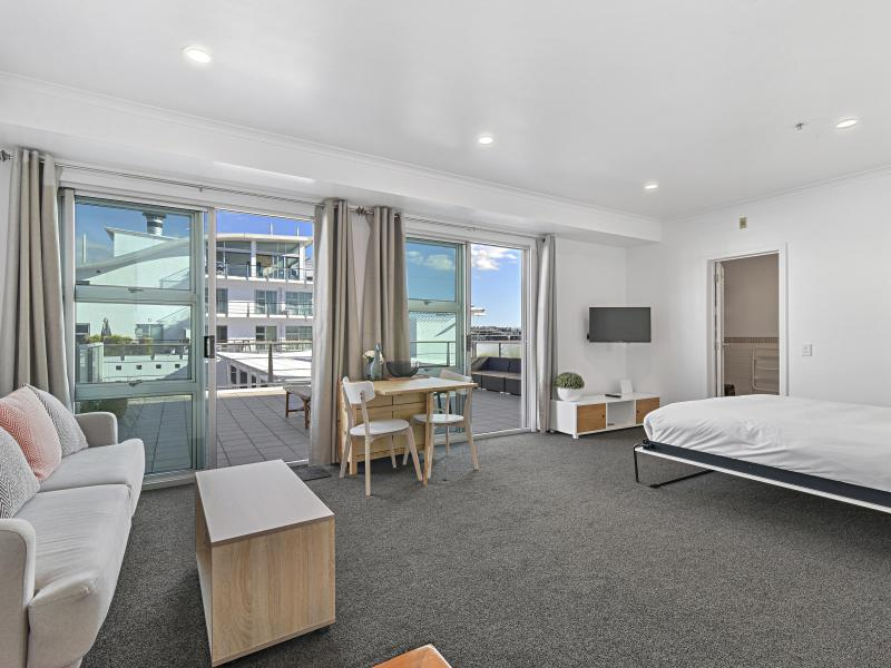 Studio apartment on Auckland Viaduct, balcony is for exclusive use of the guest. (52m2)